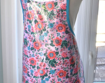 Pink Petals Vinyl Apron - machine washable handmade wipe clean and waterproof apron