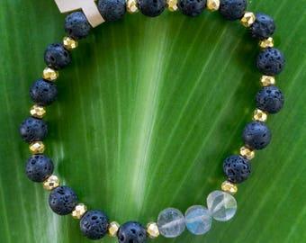 Lava love bracelet: black lava bead and faceted labradorite gemstone stretch stack bracelet