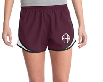 Maroon Monogrammed Shorts, Personalized Running Shorts, Work Out Shorts, Gym Shorts, Monogrammed Running Shorts, Personalized Shorts