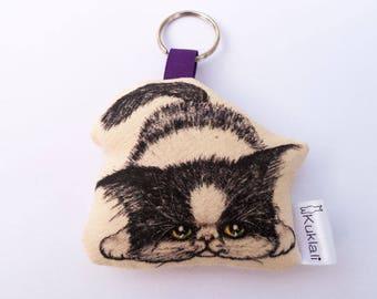 Funny Cat Keychain Exotic Shorthair kitten fabric keychain, textile,cotton,eco,handmade,gift
