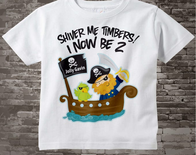 Two Year Old's Pirate Birthday Shirt Personalized Pirate Birthday Shirt or Pirate Onesie with Your Child's Name and Age 05032012b