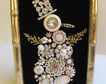 Jeweled Framed Jewelry Art Snowman Black Gold Vintage Pearls
