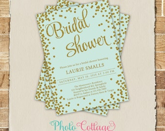 Bridal Shower Invitation, Glitter Gold Invitation, Glitter Invitations, Bridal Shower Invites, Mint & Gold Invitation, BS212