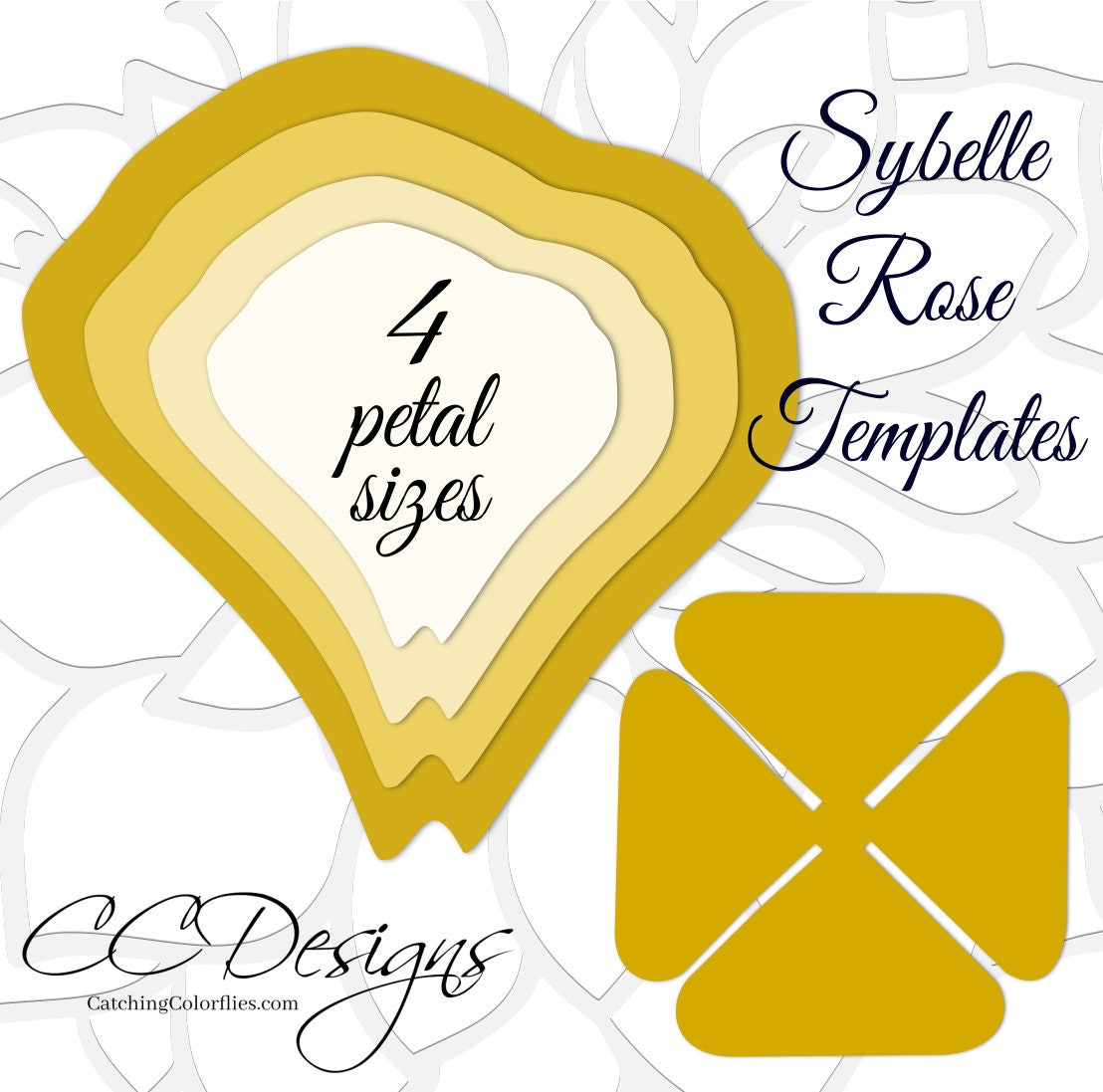 Gold Paper Rose Template & Tutorials, Giant Paper Flower Patterns ...