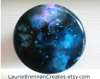 Custom made One of a Kind Furniture and Cabinet Knob-Blue and Purple Galaxy