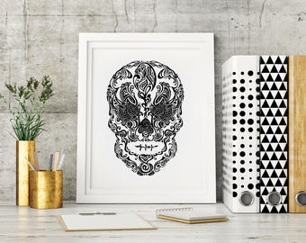 Day of the Dead - Dia de los Muertos hand drawn sugar skull - Calavera mexique - Mexican skull art ink drawing - More sizes, FREE SHIPPING*