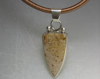 Petrified Palm Wood  Cabochon Pendant in Sterling Silver