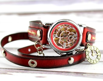 Steampunk Wrap Watch for Women, Red and Black Leather Watch, Steampunk Leather Wrap Watch, Leather Gift, Leather Bracelet