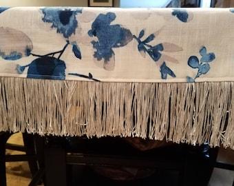Blue Floral Table Runner or Dresser Scarf with Fringe