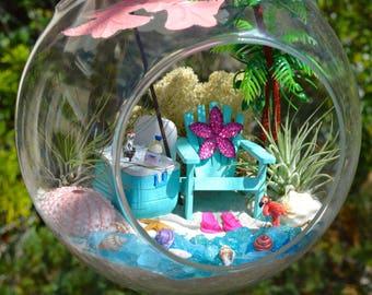 """Beach Terrarium Kit with Cooler ~ 7"""" Air Plant Terrarium Kits ~ Beach Umbrella ~ Adirondack Chair ~ Beach Decor ~ Gift ~ 2 drink choices"""