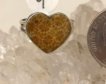 Fossil Coral Heart Ring Size 9