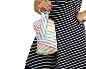 Rainbow Stripe Canvas Bracelet Wristlet Purse