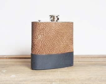 Custom Leather Flask, Genuine Leather Strips, metallic gold, navy, custom gift