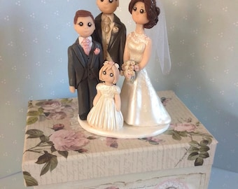 Custom made wedding cake topper - Bride and groom with two children -  Unique hand crafted keepsake