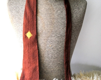 Luxurious vintage 50s brown wool, indiand hand loomed  necktie with light brown sun embroidery. Made in Mesa verde Co.