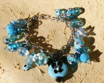 Turquoise Color  Cha Cha Cat Face  Lampwork Charm Bracelet Evil Eyes Abound: Free USA Shipping