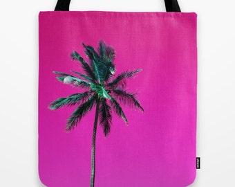 Pink Tote Bag, Palm Tree Bag, Tropical Bag, Pink & Green Beach Bag, Tropical Glam Library Tote, Pink Grocery Sack, Palm Tree Shoulder Bag