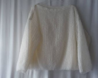 Oversize T 48/52 mohair sweater and very wispy white acrylic
