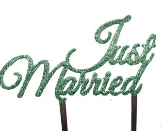 Just Married - Wedding cake topper with GREEN GLITTER