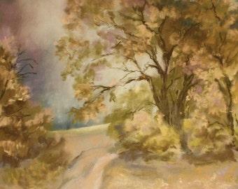 "Tree by Moonlight, Original Pastel Art, Original Landscape Art, Fine Art, Pastels, 12x16"""