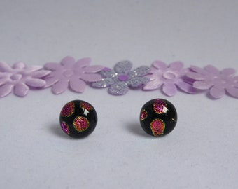 Dichroic glass earrings pink purple dots fused stud fused birthday anniversary Christmas Mothers Day gift for her wife girlfriend Mum sister