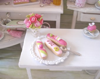 3 eclairs miniature 1/12 scale decorated and sweet
