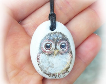 PENDANT Owl No. 3 painted stone rock painting handpainted stone miniature painted rock