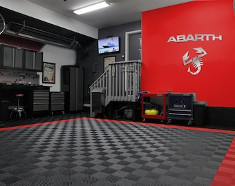 ABARTH Letters and Logo combo Garage Sign 4 Feet Long Brushed Silver
