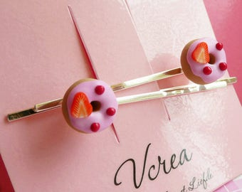 Strawberry Scented Frosted Donuts Hair Pins