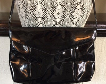 1980's vintage shiny patent flip front handbag / shoulder / evening