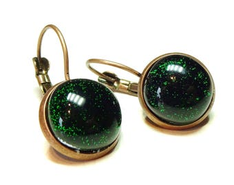 Dark Green Dichroic Glass Antique Copper Lever Back Earrings