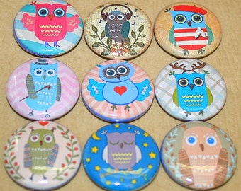 Cute Owl Magnets - One Inch