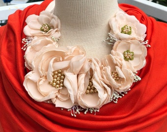 Flower Bib Necklace/Satin Flowers Handmade/ Flower WeddingAccessory/ Wedding/ Blush Peach Beige Necklace/ Baptism/Baby/Photo/Wedding/Party