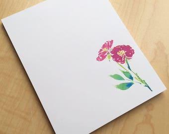 Rose Floral Notepad - Small Watercolor Miniature Rose Notepad - 4 x 5 Handmade Botanical Notepad - Gardener Gift - 40 Sheet Notepad