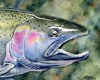 Steelhead Trout Art Print - Watercolor Painting - Fly Fishing Art - Signed by Artist DJ Rogers - Wall Decor