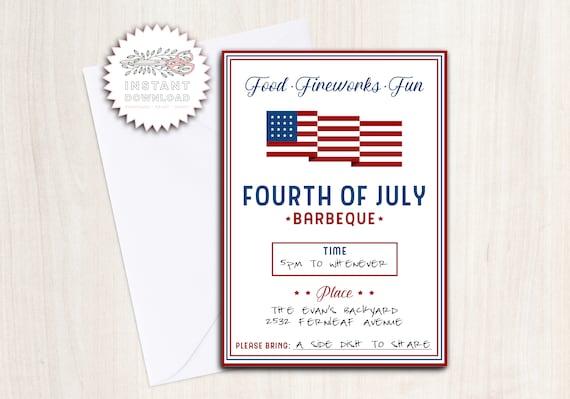 4th July BBQ Party Invite - Instant Download Invitation