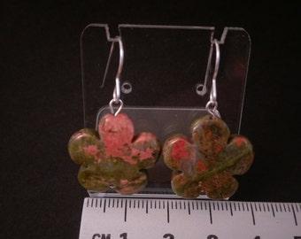 Semi precious flower earrings unakite on sterling silver