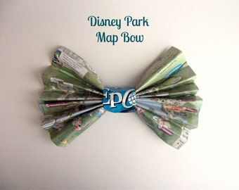 Disney park map bow | Etsy