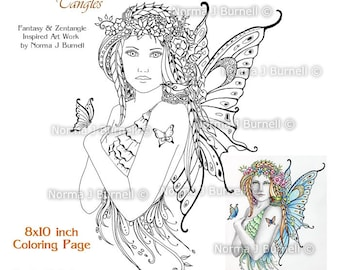Spring Fairy - Fairy Tangles Coloring Book Pages Adult Printable Coloring sheets by Norma J Burnell Fairies Digital Coloring for grownups