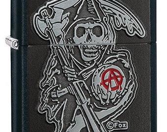 Iconic Sons of Anarchy Emblem Black Matte Pocket Zippo Lighter  …