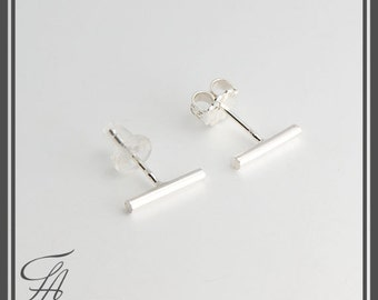 Silver Bar Earrings, Tiny Bar Studs, Sterling Studs. Handmade Studs, Bar Studs, Silver Stick Everyday Earrings, Line Earrings, 10 x 1.3mm