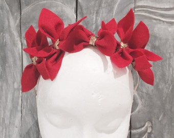 CHENAYDE: red felt flower crown -  races, special events