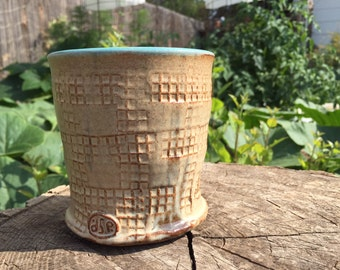 Teal and Cream Textured Pottery Cup