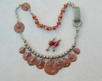 We're Watching You! Funny Faces Necklace, Hand-Forged Pure Copper Faces, Unusual Side Clasp, Silver & Copper Chain Links, SandraDesigns