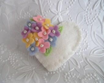 Felt Flower Brooch Pin Beaded Heart Wool Felted