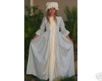 colonial girl dress costume early american dress made to measurement choice of print & color