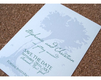 Save the Date with Tree Silhouette
