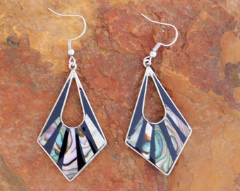 Mexico Alpaca Silver Vintage Dangle Earrings Black Enamel Abalone Shell Inlays X18