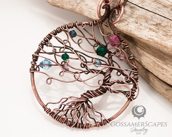 Tree of life - family tree with birthstone crystals - up to 10 - Blowing in the Wind