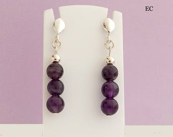 Silver and genuine Amethyst stone earrings